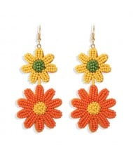 Mini Beads Dangling Dual Daisy Design High Fashion Women Shoulder-duster Earrings - Yellow and Orange
