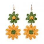 Mini Beads Dangling Dual Daisy Design High Fashion Women Shoulder-duster Earrings - Green and Yellow