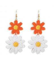 Mini Beads Dangling Dual Daisy Design High Fashion Women Shoulder-duster Earrings - Orange and White