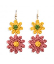 Mini Beads Dangling Dual Daisy Design High Fashion Women Shoulder-duster Earrings - Yellow and Pink