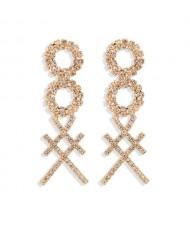 Rhinestone Geometric Combo Design High Fashion Women Shoulder-duster Earrings - Golden