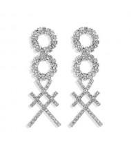 Rhinestone Geometric Combo Design High Fashion Women Shoulder-duster Earrings - Silver