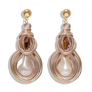 Gem Inlaid Abstract Gourd Shape Design Women Shoulder-duster High Fashion Earrings - Champagne