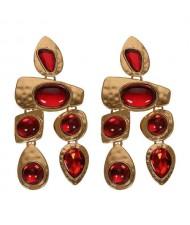 Gem Inlaid Irregular Shape Folk Style High Fashion Women Alloy Earrings - Red