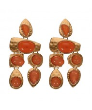 Gem Inlaid Irregular Shape Folk Style High Fashion Women Alloy Earrings - Orange