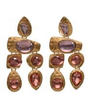 Gem Inlaid Irregular Shape Folk Style High Fashion Women Alloy Earrings - Champagne