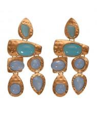 Gem Inlaid Irregular Shape Folk Style High Fashion Women Alloy Earrings - Light Blue