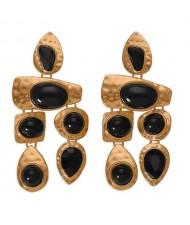 Gem Inlaid Irregular Shape Folk Style High Fashion Women Alloy Earrings - Black