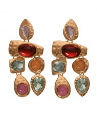 Gem Inlaid Irregular Shape Folk Style High Fashion Women Alloy Earrings - Multicolor