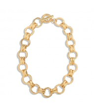 Hip Pop Fashion Simple Golden Chunky Hooped Chain Design Alloy Texture Necklace