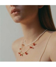 Online Star Preferred High Fashion Cherry Design Adorable Pearl Women Necklace