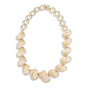 Rhinestone Embellished Natural Conch Handmade Beach Fashion Women Bib Statement Necklace