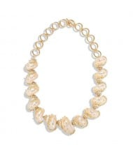 Rhinestone Embellished Natural Conch Handmade Beach Fashion Women Bib Statement Necklace