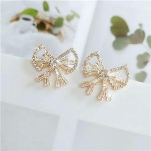 Rhinestone All-over Design Elegant Bow Design Alloy Women Stud Earrings