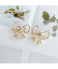 Rhinestone All-over Design Elegant Bow Design Alloy Women Stud Earrings