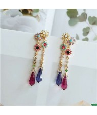 Colorful Flowers Rhinestone Tassel Folk Design Women Shoulder Duster Alloy Earrings