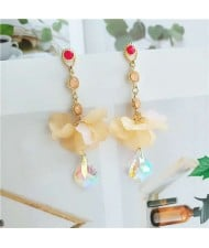 Gorgeous Acrylic Flower Rhinestone Tassel Folk Style Women Shoulder Duster Alloy Earrings