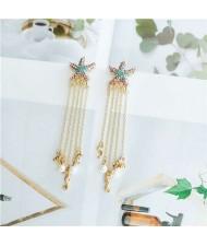 Starfish Design with Seahorse Tassel Design Women Shoulder Duster Alloy Earrings