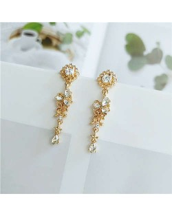 Shining Rhinestone Flower Vintage Design Golden Women Tassel Stud Earrings