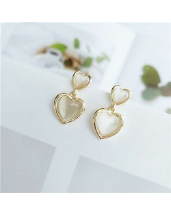 Korean Fashion Dual Hearts Design Women Copper Costume Stud Earrings