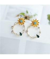 Yellow Flowers Embellished Shining Rhinestone Hoop Women Fashion Earrings