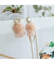 Summer Flowers Asymetric Design Luxurious Fashion Women Alloy Statement Earrings