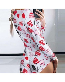 Red Heart Shape Cherry Design Printing Popular Style Women One-piece Top/ Body Suit