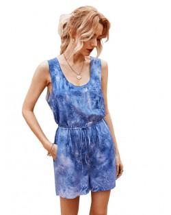 Summer Solid Color Seashore Fashion Women One-piece Short Pants Suit - Dark Blue