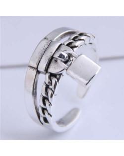 Lock Pendant Vintage Design Open-end Women Copper Ring
