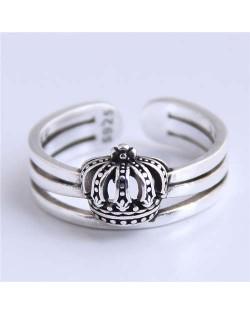 Hollow Crown Design Vintage Fashion Open-end Copper Ring