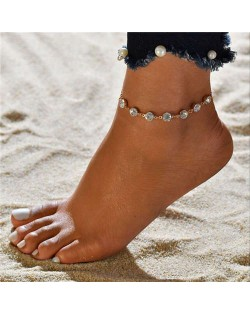 Rhinestone Embellished Simple Fashion Women Alloy Anklet - Golden