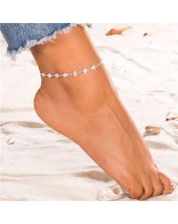Rhinestone Embellished Simple Fashion Women Alloy Anklet - Silver