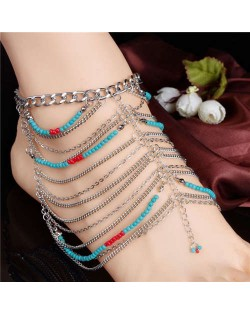 Artificial Turquoise Beads and Multiple Chains Bohemian Design Women Alloy Anklet