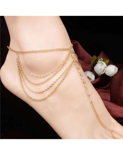 Rhinestone Inlaid Multi-layer Chains Tassel Design High Fashion Women Alloy Anklet