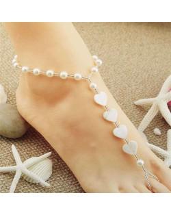 Seashell Hearts and Pearl Fashion Graceful Design Women Seashore Anklet