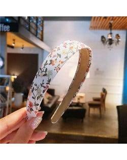 Sping Flower Prints Korean Fashion Women White Cloth Hair Hoop