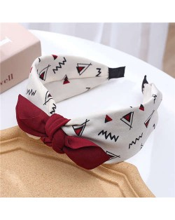 Bowknot Decorated Abstract Painting Prints Korean Fashion Women Cloth Hair Hoop - White