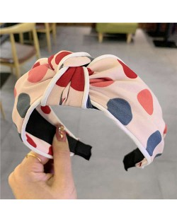 Polka Dot Korean Fashion Bow Design Women Cloth Hair Hoop - Pink