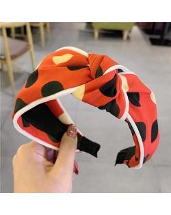 Polka Dot Korean Fashion Bow Design Women Cloth Hair Hoop - Orange