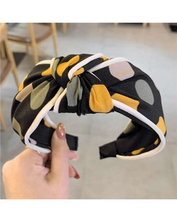 Polka Dot Korean Fashion Bow Design Women Cloth Hair Hoop - Black