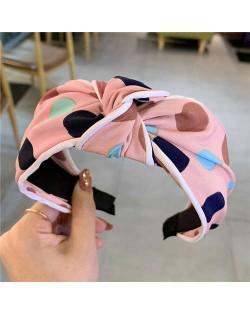 Polka Dot Korean Fashion Bow Design Women Cloth Hair Hoop - Red Bean Pink