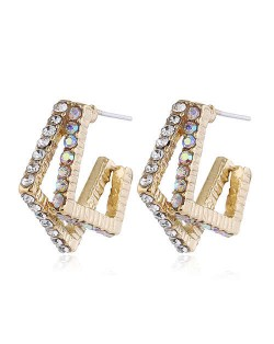 Rhinestone Inlaid Geometric Design Golden High Fashion Women Stud Earrings