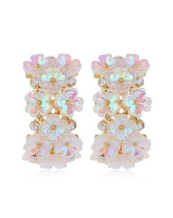 Shining Flowers Cluster Western High Fashion Women Statement Stud Earrings