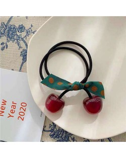 Korean Fashion Bowknot Decorated Cherry Design Women Rubber Hair Band - Dark Red