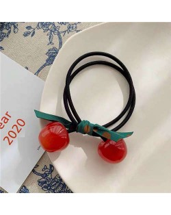 Korean Fashion Bowknot Decorated Cherry Design Women Rubber Hair Band - Red