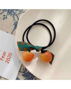 Korean Fashion Bowknot Decorated Cherry Design Women Rubber Hair Band - Orange