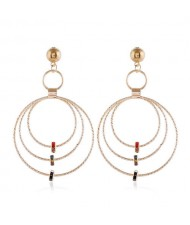 Beads Decorated Triple Hoops Design High Fashion Women Alloy Earrings - Golden