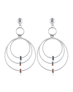 Beads Decorated Triple Hoops Design High Fashion Women Alloy Earrings - Silver