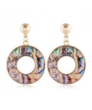 Seashell Texture Hoop Design Women Costume Stud Earrings