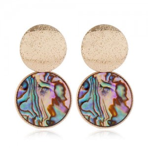 Rounds Fashion Seashell Texture Unique Fashion Women Alloy Stud Earrings